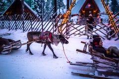 Rovaniemi - 16 décembre 2017 : Village de Santa Claus de Rovaniemi, photographie stock libre de droits