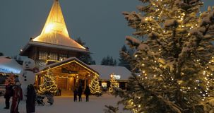 Evening scene of Santa Claus Village in Rovaniemi, Finland stock footage
