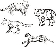 Rovdjurs- djur i stam- stil Royaltyfri Bild