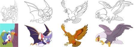 Rovdjurs- fågeluppsättning för tecknad film Arkivbild