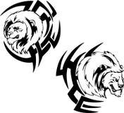 Rovdjurs- lejonhuvudtatueringar Arkivbilder