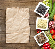 Roveja, hemp seeds, black chickpea and vegetables Stock Images