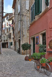 Rovenj - Istrian Peninsula - Croatia. Quiet street with colorful houses in the city of Rovenj on the Istrian Peninsula in Croatia. The town is also know by its royalty free stock photos