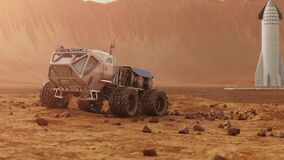 Rover drives on Martian surface. Starship in the background 4K 3D animation