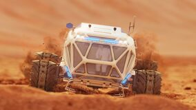 Rover rides over rough rocky surface of Martian crater. 4K footage