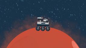 the rover travels across Mars. looping animation.