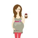 Rovesci una donna incinta con la torta, vettore Fotografie Stock Libere da Diritti