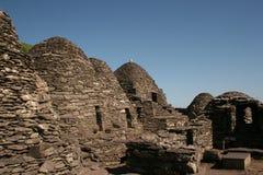 Rovina antica della roccia di Skellig in Irlanda fotografia stock