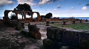 Rovina della chiesa cristiana in Tipasa, Algeria immagine stock libera da diritti
