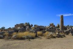 Rovina delle colonne greche del tempio - Sicilia, Italia Fotografia Stock
