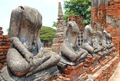 Rovina delle statue di Buddha a Ayutthaya Fotografia Stock Libera da Diritti