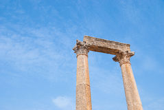Rovina la città di Jerash in Giordania/arco di Hadrian in Jerash Fotografie Stock Libere da Diritti
