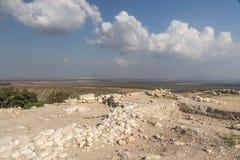 Rovine al parco nazionale del telefono Megiddo in Israele fotografia stock