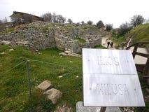 Sito di archeologia di Troia in Turchia, rovine antiche Fotografia Stock