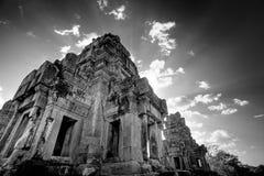 Rovine cambogiane del tempiale - il nero & bianco Immagine Stock Libera da Diritti