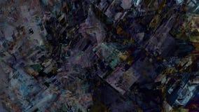Rovine d'ardore astratte della città mobile che si chiudono sul paesaggio geometrico di architettura di viaggio della macchina fu illustrazione di stock