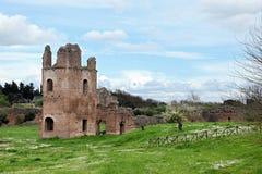 Rovine da Circo di Massenzio dentro via Apia Antica a Roma Fotografia Stock
