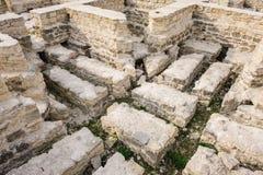 Rovine del bagno pubblico, vecchio Orhei, Moldavia immagini stock
