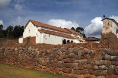 Rovine del castello del Inca in Chinchero Fotografia Stock