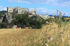 Rovine del castello di Beckov Fotografia Stock