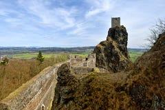Rovine del castello di Trosky, repubblica Ceca Fotografie Stock Libere da Diritti