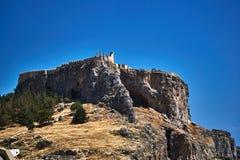 Rovine del castello medievale di Lindos fotografie stock