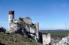 Rovine del castello medievale di Olsztyn vicino a Czestochowa Fotografia Stock
