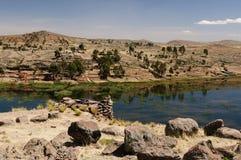 Rovine del Inca in Sillustani, lago Titicaca, Perù fotografie stock libere da diritti