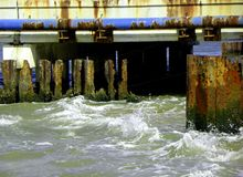 Rovine del ponte Fotografie Stock