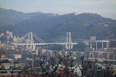 Rovine del ponte di Ponte Morandi a Genova fotografia stock