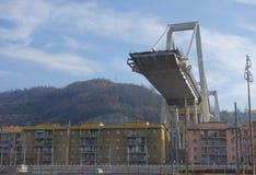 Rovine del ponte di Ponte Morandi a Genova immagine stock libera da diritti
