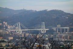 Rovine del ponte di Ponte Morandi a Genova fotografie stock