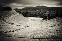 Rovine del teatro di epidaurus, il peloponneso, Grecia Fotografie Stock