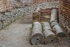 Rovine del teatro romano antico in Taormina, isola della Sicilia Fotografia Stock