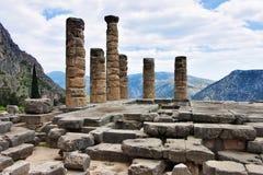 Rovine del tempiale di Apollo a Delfi Fotografia Stock
