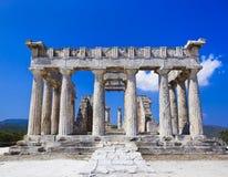Rovine del tempiale sull'isola Aegina, Grecia Fotografia Stock