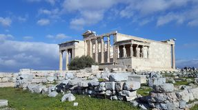 Rovine del tempio di Erechtheion sull'acropoli, Atene, Grecia immagine stock