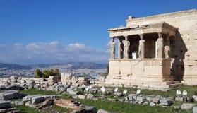 Rovine del tempio di Erechtheion sull'acropoli, Atene, Grecia immagini stock libere da diritti