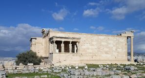 Rovine del tempio di Erechtheion sull'acropoli, Atene, Grecia fotografia stock