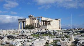 Rovine del tempio di Erechtheion sull'acropoli, Atene, Grecia fotografia stock libera da diritti