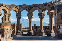 Rovine del tempio di Zvartnos a Yerevan, Armenia Fotografia Stock