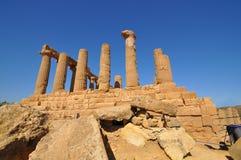 Rovine del tempio greco da Agrigento. Immagini Stock