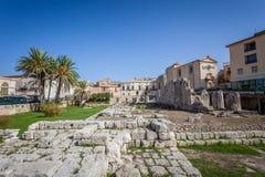 Rovine del tempio od Apollo a Siracusa fotografia stock