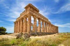 Rovine del tempio, Selinunte, Sicilia, Italia Fotografie Stock Libere da Diritti