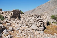 Rovine del villaggio di Gera, Tilos fotografia stock