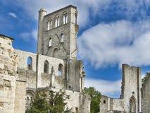Rovine dell'abbazia di Jumieges in Francia del Nord L'abbazia ? la rovina di un monastero costruito dai canoni regolari nello XVI immagine stock libera da diritti