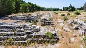 Rovine dell'altare antico di Hieron a Siracusa Fotografie Stock