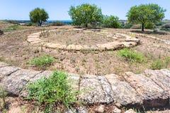 Rovine dell'altare greco ancent a Agrigento, Sicilia Immagini Stock
