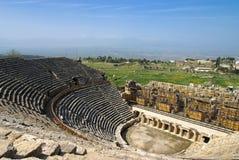 Rovine dell'anfiteatro in Hierapolis, Turchia Fotografie Stock