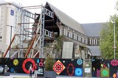 Rovine della cattedrale di Christchurch imbarcate fuori, NZ Immagini Stock